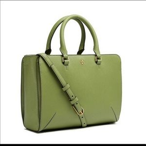 Tory Burch Small Olive Green Robinson Tote